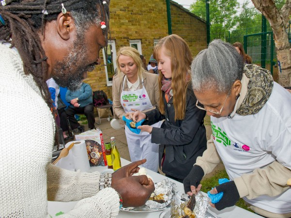 Local Big Luncher Hazel Watson tucks in to Levi Roots' Roasted Treacle Toffee Bananas